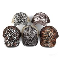 Party Hats Criss Cross Ponytail Hats Woman Washed Mesh Back Black Leopard cap Messy Bun Pony tail Baseball Caps Trucker Festive Supplies ZC243