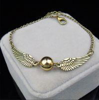 Quadditch Dourado Snitch Pulseira Pulseira Harry Charm Bracelets Wings Potter Vintage Tom Retro para Homens e Mulheres Atacadista1523