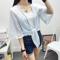 Mulheres Blusas Camisas Chiffon Bow Bandage Cobertura para cima Blusa Fina Blusa Sunscreen Cardigan Loose Casual Blusas Manga Curta Ponto Aberto Stitch Shir
