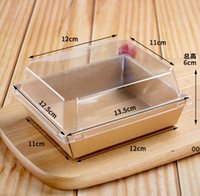 Cake Box Transparent Clear Sandwich Puff Biscuit Dessert Baking Packaging Boxes Paper Gifts Case Square Rectangle Container RRA9665