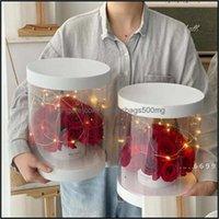 Embalaje Oficina Escuela Negocio InducalClear Cajas Redondas Boda Cumpleaños Transparente PVC Flor Regalo Packaging Box Valentine Mothers Da
