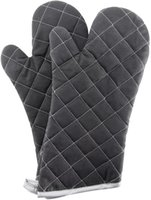 Kitchen Tools Oven Mitts Flame Retardant gloves Heat Resistant to 425° F 15 Inch Black Color 2-Pack