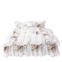 4 pcs estilo coreano bege princesa conjunto de cama de luxo rosa impressão lace colcha capa ruffles colchas leito cama de algodão rainha king size 487 r2