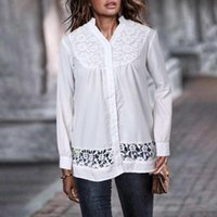 Women White Lace Blouses Celmia Sexy V-neck Long Sleeve Hollow Blusas Femininas Elegant Office Shirts Tunic Tops Womens Clothing Women's &