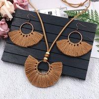 Retro borla brincos colar conjunto artesanal multi cores bohemia mulheres étnica círculo borla jóias conjunto brincos 201 r2