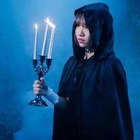 Halloween Kostüm Erwachsene und Kinder Black Cape Mantel Herren Wizard Robe Death Vampir Cosplay Kostüm
