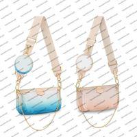 M57633 Multi Pochette Accessoires Redondo Monedero Bolso Bolso Mujeres Pastel Color Gigante Cuero Cuero de Cuero Mini Dos Pochettes Cross-Cuerpo Bols Bols Bagbag