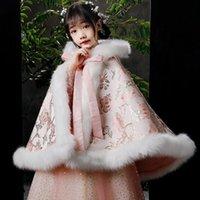 Wraps & Jackets Flower Printed Child Winter Wedding Coat Children's Bolero Cape Girls Wind-proof Fur Jacket For Communion Dress Junior