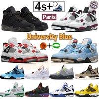 Université bleu feu rouge jordanier 4 4s hommes femmes chaussures de basketball cactus jack cactus noir chat métallisé orange pin vert païenkers talkeurs hommes