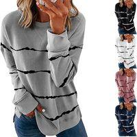 Top Women's T-Shirt Large Size Women Tie Dye Stripe T Shirt Casual Long Sleeve Oversized Loose Tee Fashion Ladies Autumn Tops 5XL