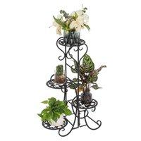 Saksı Yuvarlak Çiçek Metal Raflar Bitki Pot Dekorasyon Kapalı Açık Bahçe Siyah Diğer Ev Dekorasyonu için Standı