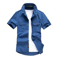 Männer Lässige Hemden Sommer 100% Rettung Baumwolle gelegentlich Kurzarm Military Load Herren Army Solid Hemd Masculine Plus Größe 4XL