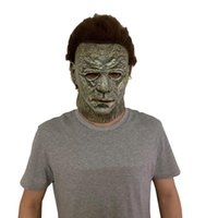 Mascarillas de fiesta Horror Michael Myers LED Halloween Mata Mascarilla Cosplay Assery Killer Full Face Face Latex Casco Disfraces Accesorios