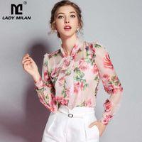 Lady Milan Varış Bahar kadın Yay Yaka Uzun Kollu Çiçek Baskılı Zarif 100% İpek Pist Tasarımcı Gömlek T200301