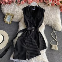 Women's Tracksuits FTLZZ Summer Arrival Office Lady Striped Sleeveless Tailored Collar Top With Belt High Waist Shorts Fashion Two Piece Set