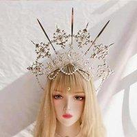 Hair Accessories Lolita Vintage Headband Angel Silver Halo Goddess Headpiece Virgin Mary Bride Crown Bead Chain Baroque Tiara Headwear