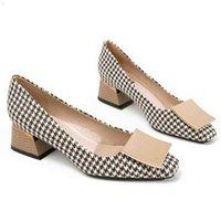 Checked Plaid Puntería puntiaguda Oficina Career Mujer Bombas Negro Femenino Moda Chunky Tacones altos Zapatos elegantes Ladies Formal Desgaste 210610 S99m