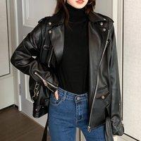 Women's Leather & Faux 2021 Motorcycle Jacket Women High Quality PU Coats Autumn Winter Jackets Oversize Belt Zipper Gothic Black