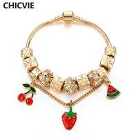 Charm Bracelets CHICVIE 2021 Strawberry Watermelon Cherry Fruit Bangles Designs For Women Gold Crystal Bracelet SBR160249