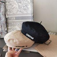 高品質のデザイナーキャップベレー帽レンズD文字豪華カシミア八角形ベレー帽ハートキャップレディ屋外旅行暖かい冬防風バネット2彩色