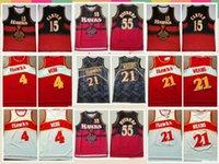 2021 Niedrige Männer Retro Retro Classic Basketball Jersey Spud 4 Webb Vince 15 Carter Dikembe 55 Mutombo Shorts Größe S-2XL Blau Weiß Schwarz Rot