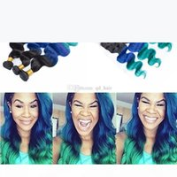 1b الأزرق الأخضر الشعر البشري حزم مع الدانتيل أمامي 13x4 الدانتيل كامل أمامي مع أومبير تيل الجسم موجة متموجة لحمة الشعر