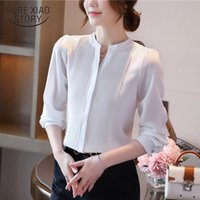 Office Lady White Cardigan Women Shirts Autumn Long Sleeve Chiffon Blouse V Neck Solid Female Tops Clothing 10856 Women's Blouses &