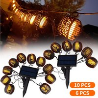 Solar Lamps WAKYME LED Light Outdoor Patio Garden Decoration Flickering Flame Lantern Hanging String Lights Lamp Street Garland