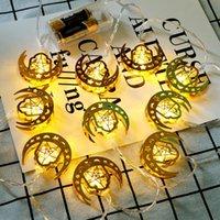 Metallico Star Moon Light Colorato 10 LED Fairy String Lights Ramadan Arab Festival Ornament Ornamento Decorazione della casa Corde