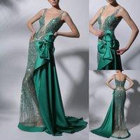 Deep Green Evening Dresses Major Beaded V Neck Mermaid Prom Dress Sweep Train Party Celebrity Formal Dress