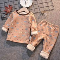 Pajamas Girls Boys Autumn Winter Plush Thermal Underwear Sets Fashion Outfit Kids Clothes Suit For 1-5 Y Baby Children Warm 5OHT