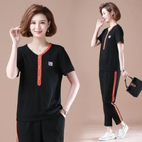 Two Piece Dress 2021 Summer Tracksuit For Women Outfits 2 Set Sportswear Plus Size Pants T-Shirt Clothing Female Coat Leisure