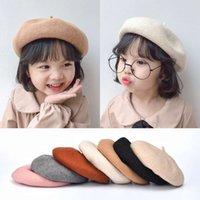 Caps Corean Automne et hiver Béret pour enfants Mode 90% Cachemire Cachemire Pumpkin Hat Petit Girl Peintre Chapeau