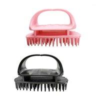 2 قطع سيليكون شامبو فرشاة رئيس فروة الرأس مدلك الغسيل الشعر قشرة هفور للشحن (أسود + وردي) 1
