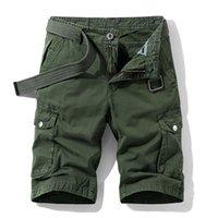 Hohe Qualität Sommer Herren Baggy Multi Pocket Military Cargo Shorts Männliche Baumwolle Herren Taktische Shorts Kurze Hosen Kein Gürtel 210323