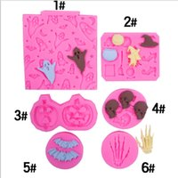 Silicone cake mould Halloween Ghost Skeleton Palm Bat Fondant mold DIY Decorative Chocolate moulds