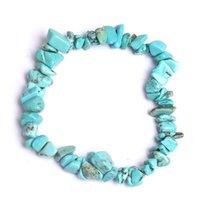 Pulsera de cristal de curación natural Sodalito Chip Piedra preciosa 18cm Pulsera de estiramiento Piedra natural Diseñador de lujo Joyería Mujeres Bracelets309 T2