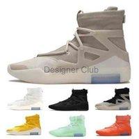 2021 Fear 1 Hommes Basketball Chaussures Baskets Haute coupe Flocons d'avoine Triple Noir Épicét Espagnole Froide Bone Orange Pulse Atmosphère Question
