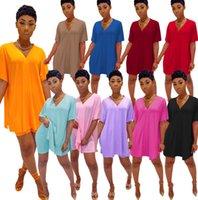 Летние женщины короткие наряды спортивная одежда мода повседневная сплошной цвет V-образным вырезом летучая мышь втулка сплит футболка и шорты двух частей набор трексуита плюс размер