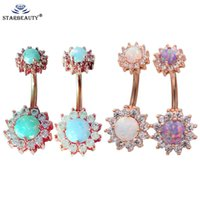 StarBeuty 1 UNID de alta calidad Real Fire Bellying Double Opal 5 / 8mm Gema Belly Belly Barbells Piercing Body Jewelry