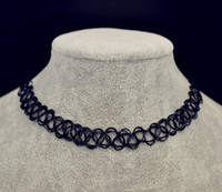 Black Fish Tattoo Necklace Wreaths Braided Wire Elasticity Fashion Design Elastic Tattoos Choker Necklaces Braideds Chunky Line Cable Seven Colors