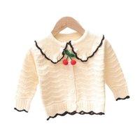 Flickor Cardigan Kids Coats Baby Ytterkläder Bomull Virka Stickmönster Barntröjor Höst Vinter Kläder Sweater Jacket Top B8617