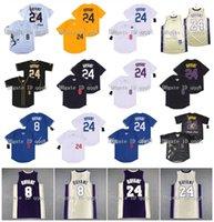 Üst kalite ! La Mens 8 24 Bryant Jersey Şöhret Salonu Bryant Jersey Basketbol Sarı Beyaz Gri Siyah 100% Dikişli Beyzbol Forması Boyutu S-XXXL