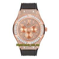 Missfox Eternity V315 Hip Hop Fashion Mens Relojes CZ Diamond Inlay Rose Gold Dial Dial Movimiento de cuarzo Hombres Reloj helado Out Big T Diamonds Bisel Alloy Case Pulsera de goma