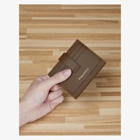 Card Holders High-end Leather Mini Wallet Fashion Ultra-thin Short Buckle Lady Holder Portable Simple First Layer Cowhide Cash