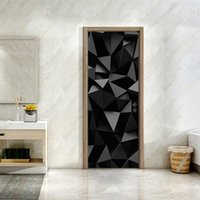 3D Geometric Pattern Door Stickers Living Room Bedroom PVC Self Adhesive Door Wallpaper Home Decor Waterproof Mural Wall Decals 693 V2