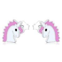 925 스털링 실버 스터드 작은 귀여운 작은 핑크 에나멜 조랑말 유니콘 말 귀걸이 소녀 여성 패션 선물 크리스마스 Brincos