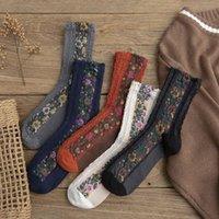 Çorap Çorap Retro Etnik Tarzı Kadınlar Ile Çiçek Rahat Rahat Bayanlar Komik Sevimli Bahar Sonbahar Pamuk Kız Ekip Sox Hediyeler