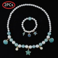 Earrings & Necklace Baby Girls Jewelry Set Birthday Party Gift Cute Girl Pearl Beaded Starfish Shell Ring Earring Pendant Bracelet