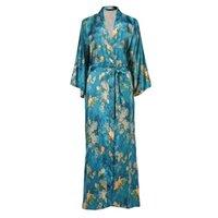 Women's Sleepwear Great Taille 3XL 4XL 5XL 5XL 6xl pour femmes Satin Satin Spring Intimate Lingerie Imprimer Fleur Kimono Peignoir Habillement Home Vêtements